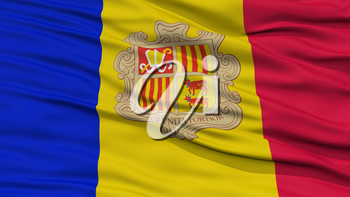 Closeup Andorra Flag, Waving in the Wind, High Resolution