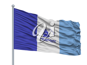 Rio Gallegos City Flag On Flagpole, Country Argentina, Isolated On White Background, 3D Rendering