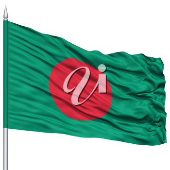 Bangladesh Flag on Flagpole, Flying in the Wind, Isolated on White Background