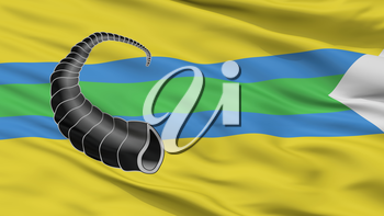 Rahacou City Flag, Country Belarus, Closeup View, 3D Rendering