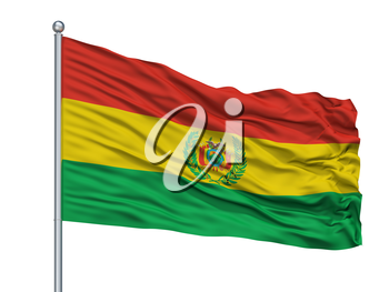 Bolivia Militar Flag On Flagpole, Isolated On White Background, 3D Rendering