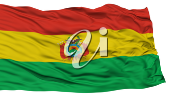 Isolated Bolivia Flag, Waving on White Background, High Resolution