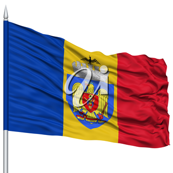 Bucharest City Flag on Flagpole, Capital City of Romania, Flying in the Wind, Isolated on White Background