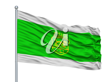 Gabrovo City Flag On Flagpole, Country Bulgaria, Isolated On White Background, 3D Rendering