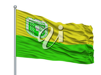 Yambol City Flag On Flagpole, Country Bulgaria, Isolated On White Background, 3D Rendering