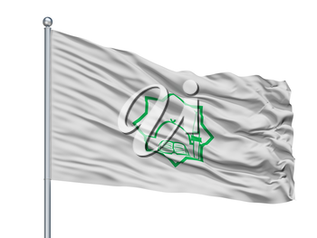 Bulgarian General Mufti Flag On Flagpole, Isolated On White Background, 3D Rendering