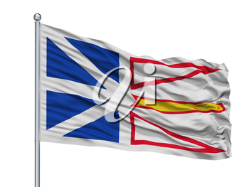 Newfoundland And Labrador City Flag On Flagpole, Country Canada, Isolated On White Background, 3D Rendering