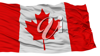 Isolated Canada Flag, Waving on White Background, High Resolution