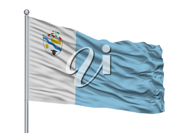 Rio Bueno City Flag On Flagpole, Country Chile, Isolated On White Background, 3D Rendering
