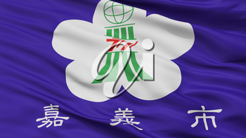 Chiayi City Flag, Country China, Closeup View, 3D Rendering