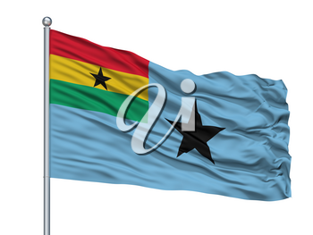 Civil Air Ensign Of Ghana Flag On Flagpole, Isolated On White Background, 3D Rendering