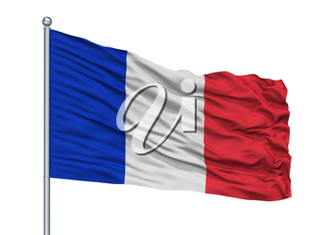 Civil And Naval Ensign Of France Flag On Flagpole, Isolated On White Background, 3D Rendering