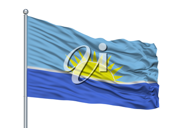 Riohacha City Flag On Flagpole, Country Colombia, Isolated On White Background, 3D Rendering