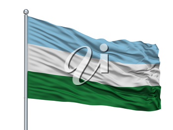San Bernardo City Flag On Flagpole, Country Colombia, Cundinamarca Department, Isolated On White Background, 3D Rendering