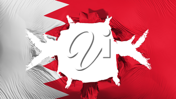 Bahrain flag with a big hole, white background, 3d rendering