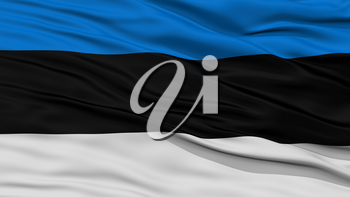 Closeup Estonia Flag, Waving in the Wind, High Resolution
