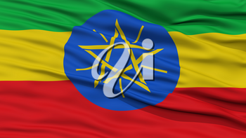 Closeup Ethiopia Flag, Waving in the Wind, High Resolution