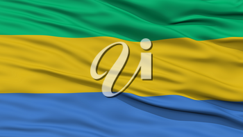 Closeup Gabon Flag, Waving in the Wind, High Resolution