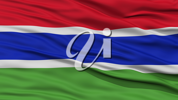 Closeup Gambia Flag, Waving in the Wind, High Resolution