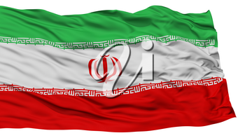 Isolated Iran Flag, Waving on White Background, High Resolution