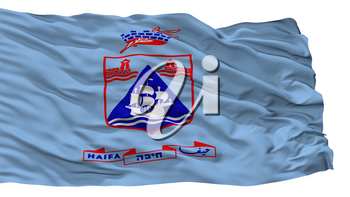 Haifa City Flag, Country Israel, Isolated On White Background, 3D Rendering