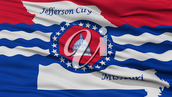 Closeup of Jefferson City Flag, Waving in the Wind, Missouri State, United States of America