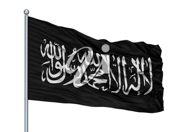 Jihad Flag On Flagpole, Isolated On White Background, 3D Rendering