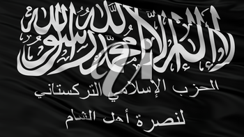 Turkistan Islamic Party In Syria Flag, Closeup View, 3D Rendering