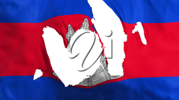 Ragged Cambodia flag, white background, 3d rendering