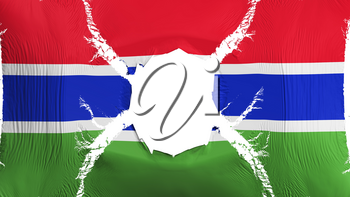 Gambia flag with a hole, white background, 3d rendering