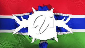 Gambia flag with a big hole, white background, 3d rendering