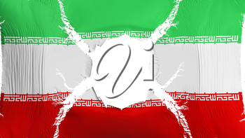 Iran flag with a hole, white background, 3d rendering