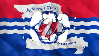 Holes in Jefferson city, capital of Missouri state flag, white background, 3d rendering