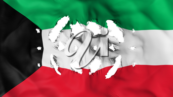 Kuwait flag with a small holes, white background, 3d rendering