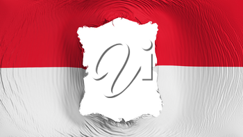 Square hole in the Monaco flag, white background, 3d rendering