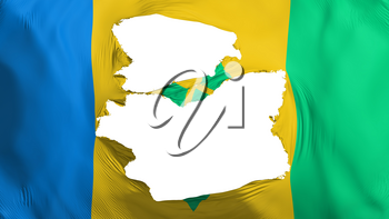 Tattered Saint Vincent and Grenadines flag, white background, 3d rendering