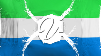 Sierra Leone flag with a hole, white background, 3d rendering