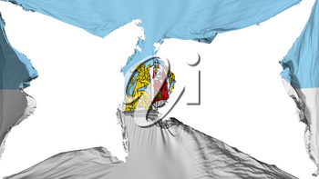 Destroyed Riga city, capital of Latvia flag, white background, 3d rendering