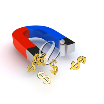 Royalty Free Clipart Image of a Magnet and Dollar Signs