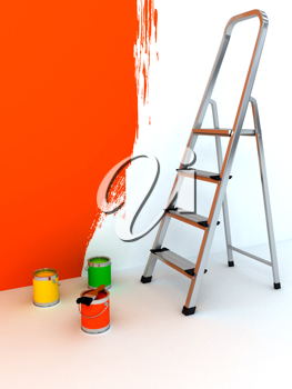Royalty Free Clipart Image of a Ladder and Paint