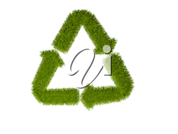 Royalty Free Clipart Image of a Grass Recycling Symbol