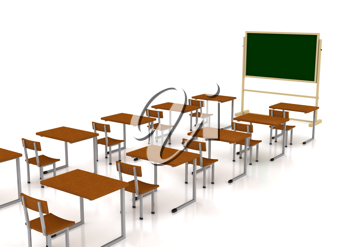 Royalty Free Clipart Image of a Classroom With Desks