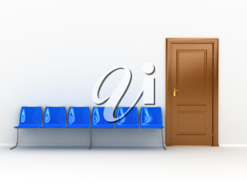 Royalty Free Clipart Image of a Wooden Door and Chairs