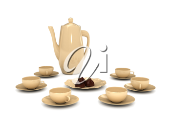 Royalty Free Clipart Image of a Teapot and Teacups