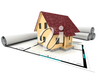 Royalty Free Clipart Image of a House For Sale on a Plan