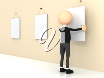 Royalty Free Clipart Image of a Businessman Hanging Posters