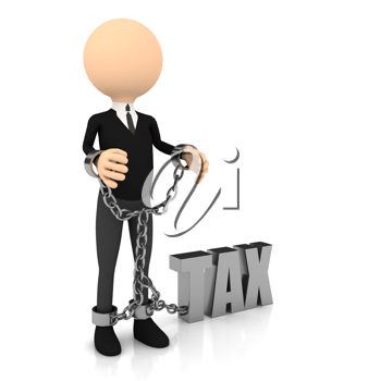 Royalty Free Clipart Image of a Man With Tax Issues