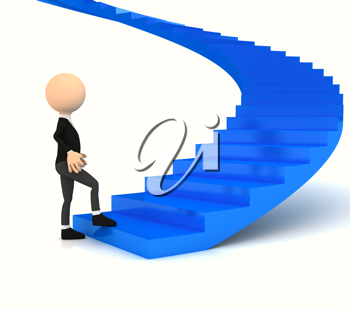 Royalty Free Clipart Image of a Businessman Walking Up the Stairs