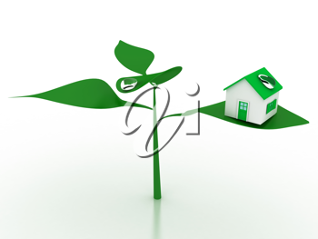Royalty Free Clipart Image of an Ecological House