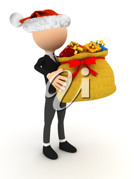 Royalty Free Clipart Image of a Person Holding a Bag of Presents